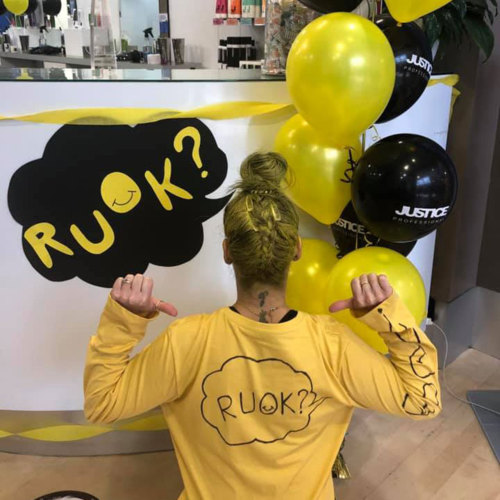 Just Cuts Campbelltown team turns yellow for R U OK Day